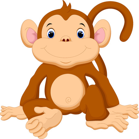 Illustration for Cute baby monkey cartoon - Royalty Free Image