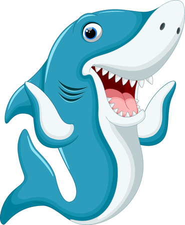 Ilustración de Cute shark cartoon - Imagen libre de derechos