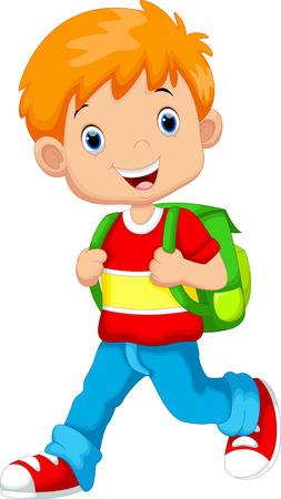 Illustration pour Cute boy on his way to school - image libre de droit