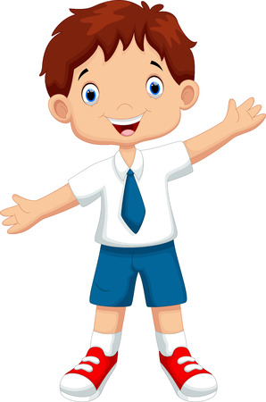 Illustration pour Cute boy in a school uniform - image libre de droit