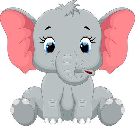 Illustration pour Cute elephant cartoon sitting - image libre de droit