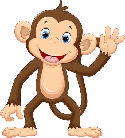 Illustration pour Cute monkey waving - image libre de droit