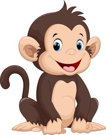 Illustration pour Cute monkey cartoon - image libre de droit