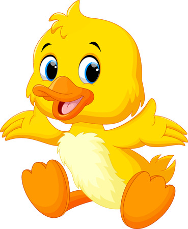 Illustration for Cute baby duck lifted its wings - Royalty Free Image