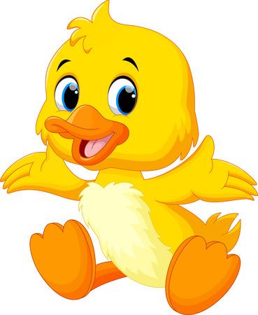 Illustration pour Cute baby duck lifted its wings - image libre de droit