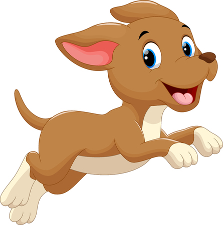 Ilustración de Cute dog cartoon running - Imagen libre de derechos