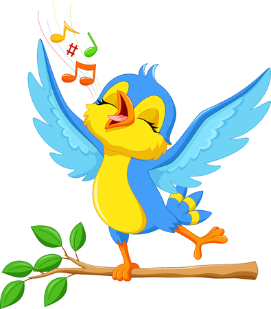 Illustration pour illustration of cute bird singing - image libre de droit