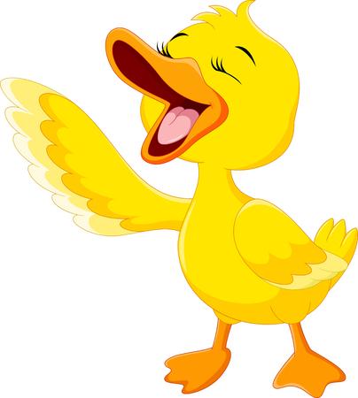 Illustration pour Cute duck laugh cartoon isolated on white background - image libre de droit