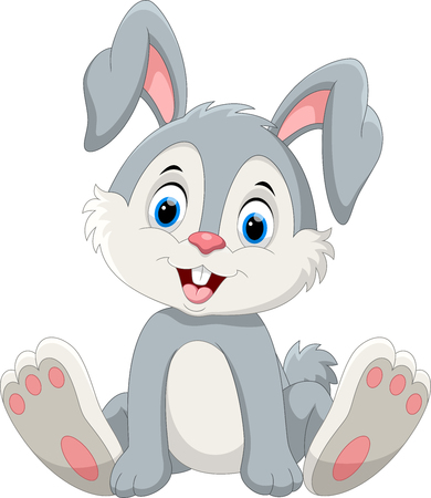 Foto de Cute little bunny cartoon sitting - Imagen libre de derechos