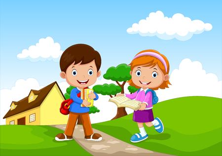 Illustration for Happy school kids go to school - Royalty Free Image