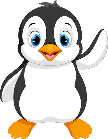 Photo pour Vector illustration of cute baby penguin cartoon waving isolated on white background - image libre de droit