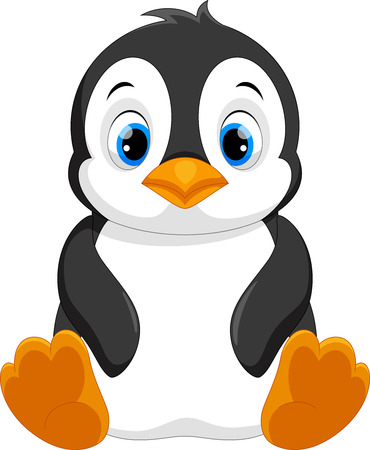 Illustration pour Cute baby penguin cartoon sitting - image libre de droit