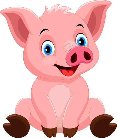 Illustrazione per Vector illustration of cute pig cartoon isolated on white background - Immagini Royalty Free