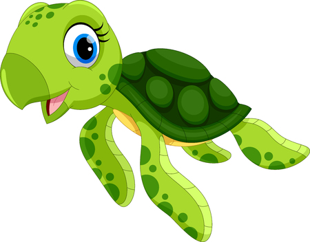 Illustrazione per Vector illustration of cute turtle cartoon isolated on white background - Immagini Royalty Free