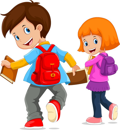 Illustration for Back to school. Vector illustration of cartoon kids going to school - Royalty Free Image