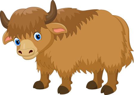 Ilustración de Illustration of cute yak cartoon isolated on white background - Imagen libre de derechos
