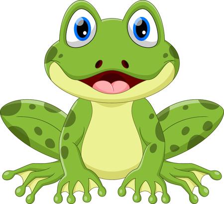 Ilustración de Vector illustration of cute frog cartoon isolated on white background. - Imagen libre de derechos