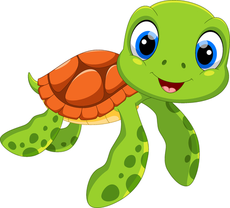 Ilustración de Cute sea turtle cartoon isolated on white background - Imagen libre de derechos