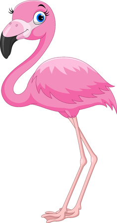 Illustration pour Cartoon pink flamingo bird - image libre de droit