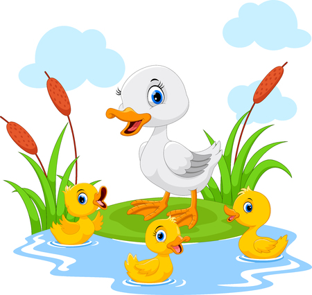 Ilustración de Mother duck swims with her three little cute ducklings in the pond - Imagen libre de derechos