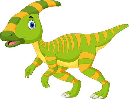 Ilustración de Cute Parasaurolophus dinosaur cartoon - Imagen libre de derechos