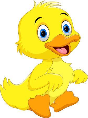 Ilustración de Cute duck cartoon sitting isolated on white background - Imagen libre de derechos
