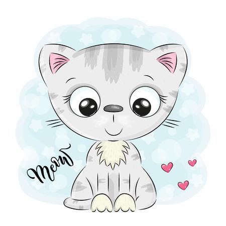 Illustrazione per Cute Cartoon kitten on a blue background. vector illustration. - Immagini Royalty Free