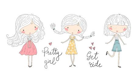 Illustration pour Hand Drawn cute little girls, doodle nursery illustration. - image libre de droit