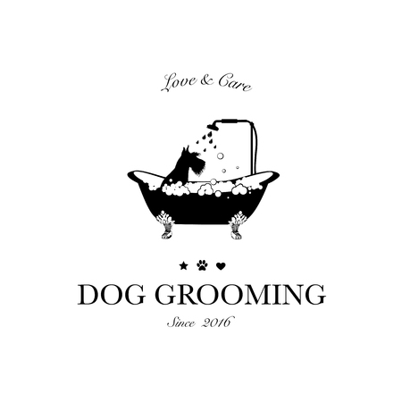 Illustrazione per Cute dog taking shower in bath. Logo for dog hair salon, styling and grooming shop, store for pets. Vector illustration - Immagini Royalty Free