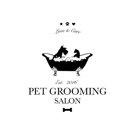 Illustrazione per Cute dog and cat in bath. Logo for pet hair salon, pet styling and grooming shop, store for dogs and cats. Vector illustration - Immagini Royalty Free