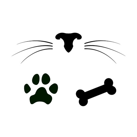 Illustrazione per Set of dog and cat icons. Pet nose with whiskers, paw and bone. Vector illustration - Immagini Royalty Free