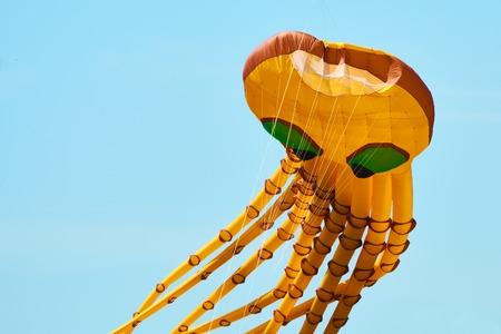 Photo pour Kite is aircraft lifted by wind power. Kite festival. - image libre de droit