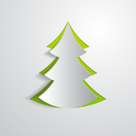 Illustration pour fir tree cut in paper - image libre de droit