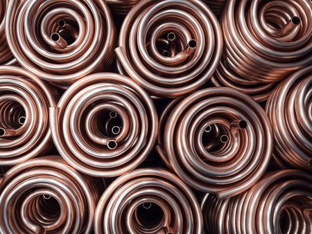 Foto de Heat exchangers obtained by winding copper pipe. - Imagen libre de derechos