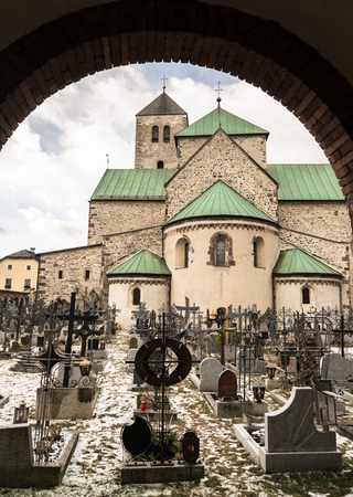 Photo for View of the ancient cemetery of the parish of San Candido. The crosses are almost all made of hand-worked iron. - Royalty Free Image