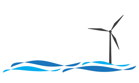 Ilustración de Offshore wind turbine icon isolated on white - Imagen libre de derechos