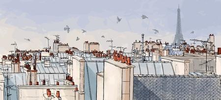Illustration pour Vector illustration of a view on Paris roofs with Eiffel Tower  - image libre de droit