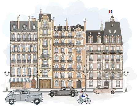 Illustration pour illustration of facades in Paris - image libre de droit