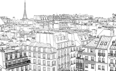 Illustration for illustration of roofs in Paris at night - Royalty Free Image