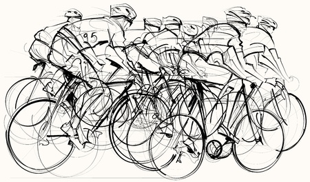 illustration of a group of cyclists in competition mural