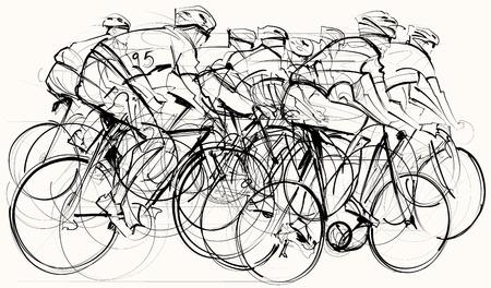 Illustration pour illustration of a group of cyclists in competition - image libre de droit