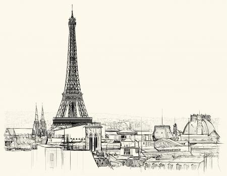 Illustration pour Vector illustration of Eiffel tower over roofs of Paris - image libre de droit