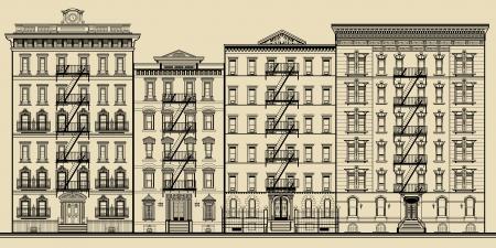 Foto de Old building and facades of new york - totaly fictitious vector illustration - Imagen libre de derechos