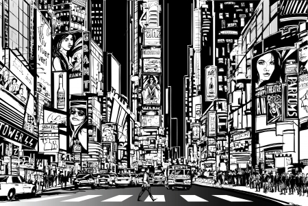 Illustration pour Vector Illustration of a street in New York city at night - image libre de droit