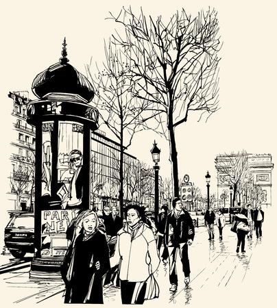 Ilustración de Vector illustration - Paris - avenue des champs-elysees - Imagen libre de derechos