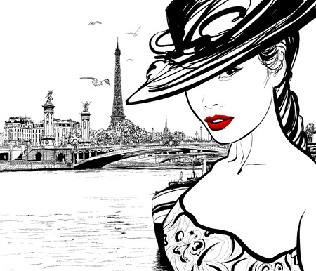 Ilustración de Young woman near the Seine river in Paris with Eiffel tower in the background - Vector illustration - Imagen libre de derechos
