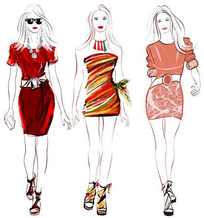 Ilustración de Colorful fashion women defile illustration - Imagen libre de derechos