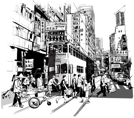 Ilustración de Street in Hong Kong - Vector illustration (all chinese characters are fictitious) - Imagen libre de derechos