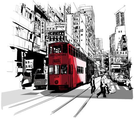 Illustration pour Street in Hong Kong - Vector illustration - image libre de droit