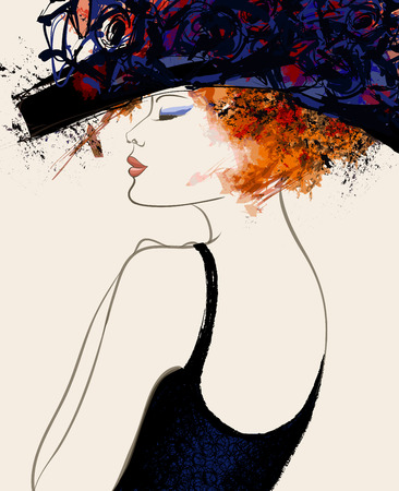 Photo pour Woman fashion model with hat - vector illustration - image libre de droit